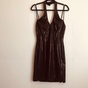Cache Burgundy Shiny Snakeskin Print Halter Dress